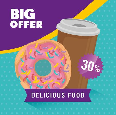 poster of big offer with donut and drink vector illustration design