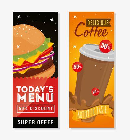 Conjunto de cartel delicioso comida rápida oferta diseño ilustración vectorial Ilustración de vector