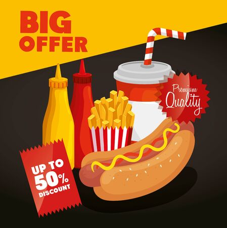 poster big offer of fast food with fifty percent discount vector illustration design Çizim