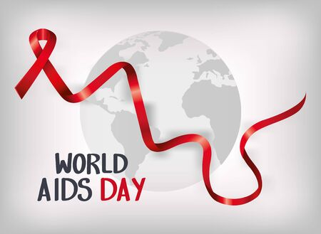 poster world aids day with ribbon and map vector illustration design Vectores