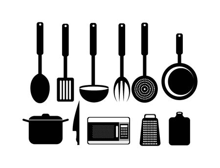 set cutlery with pot and icons vector illustration design