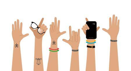 set of hands punk style vector illustration design