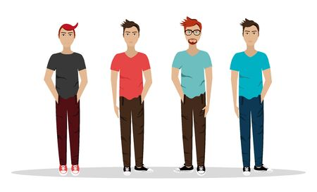 group of men style punk vector illustration design