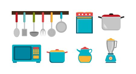 set cutlery with pot and icons vector illustration design Stock Vector - 134136497