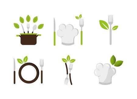 set of cutlery with icons vector illustration design Vektorgrafik