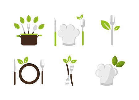 set of cutlery with icons vector illustration design