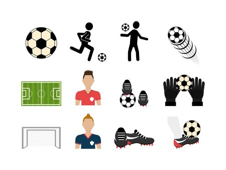 set soccer and set icons vector illustration design