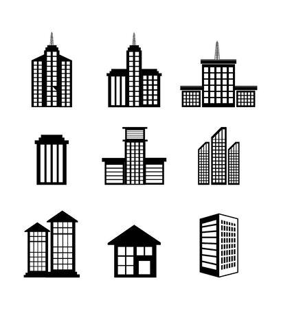 Bundle bâtiments façade icônes isométriques vector illustration design