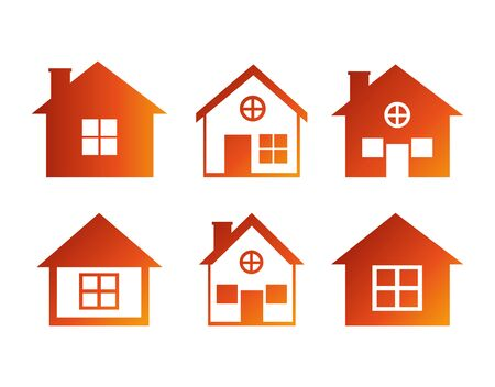bundle house facade isometric icons vector illustration design