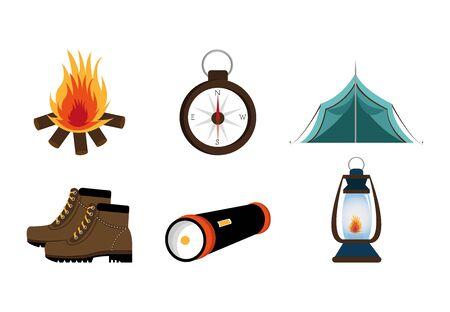 bundle equipment camping set icons vector illustration design Illustration