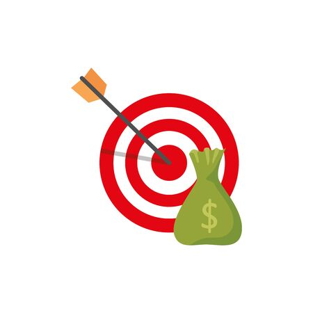 target with money bag isolated icon vector illustration design