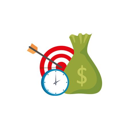 target with clock and bag money isolated icon vector illustration design