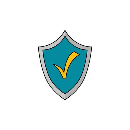 shield with check symbol isolated icon vector illustration design Illusztráció