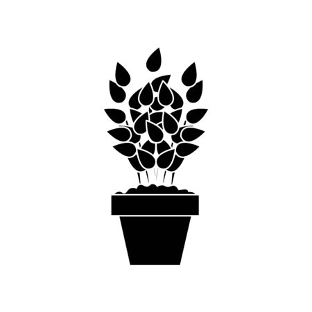 silhouette of plant in house pot isolated icon vector illustration design  イラスト・ベクター素材