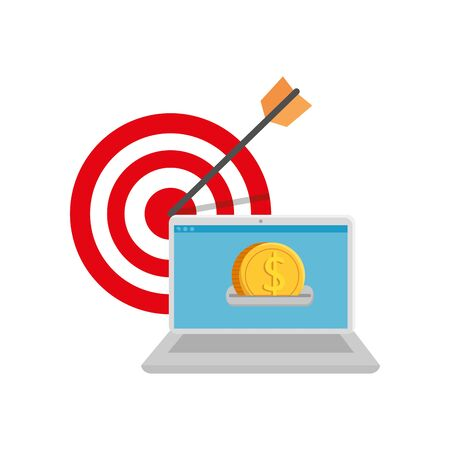 target and computer with coins vector illustration design Stock Illustratie
