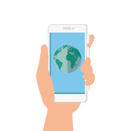 hand and smartphone with planet earth vector illustration design