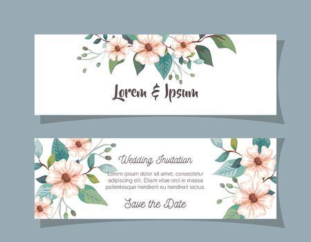 set wedding invitation cards with flowers decoration vector illustration design Vettoriali