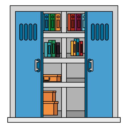 office shelving with pile text books library vector illustration design