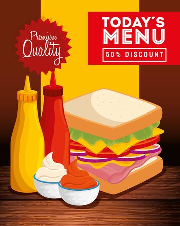 poster of premium quality with delicious food vector illustration design