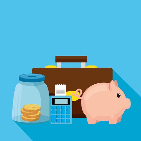 piggy bank with dataphone and business icons vector illustration design