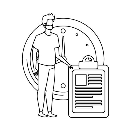 group of people with time clock vector illustration design Illustration