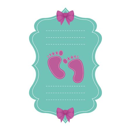 baby shower card with footprints vector illustration design