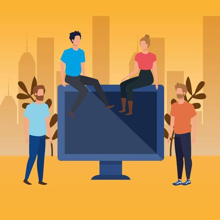 group of people with desktop characters vector illustration design Vettoriali