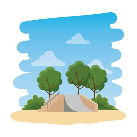 recreational park with skateboard ramp natural scene vector illustration design