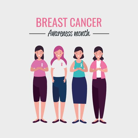 poster breast cancer awareness month with women group vector illustration design Illustration