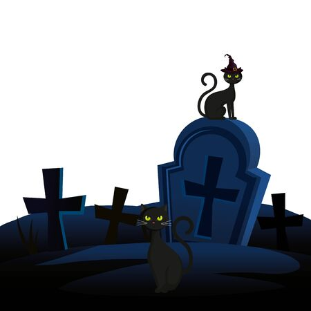 halloween tomb with cats animal vector illustration design