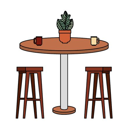 wooden benchs with table and houseplant vector illustration design