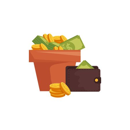 wallet with money in pot plant vector illustration design