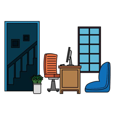 office work place scene with desktop vector illustration design