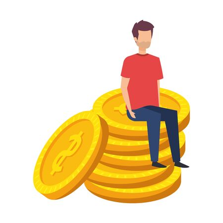 young man seated in coins cash money dollars vector illustration design