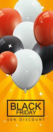 black friday poster and fifty discount with balloons helium decoration vector illustration design Vektoros illusztráció