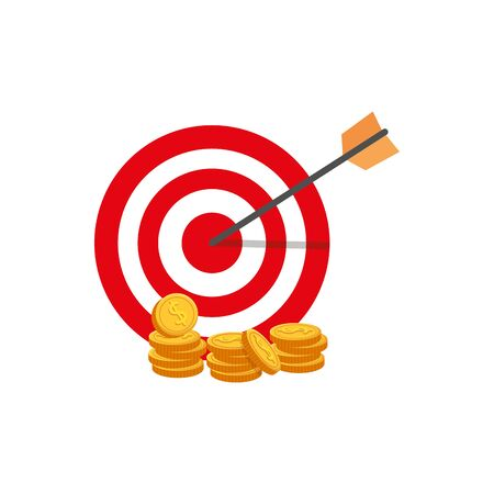target with arrow and coins isolated icon vector illustration design