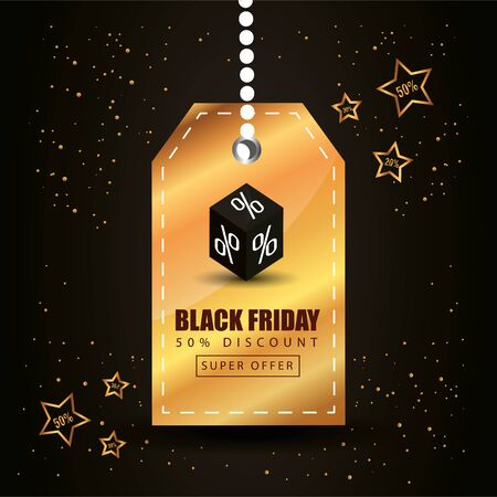 black friday poster with label and decoration vector illustration design