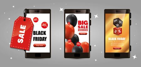 set poster of black friday with smartphone and decoration vector illustration design