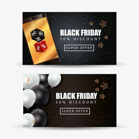 set poster of black friday with decoration vector illustration design