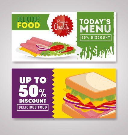 set of poster delicious fast food offer vector illustration design Illustration