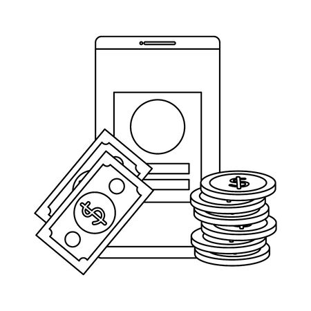 coins and bills money dollars with smartphone vector illustration design
