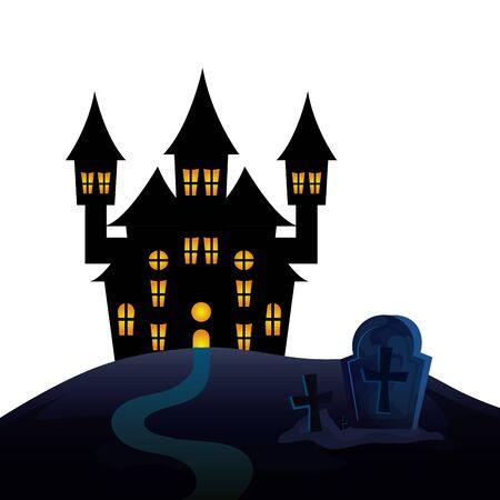 haunted castle of halloween in cemetery vector illustration design 일러스트
