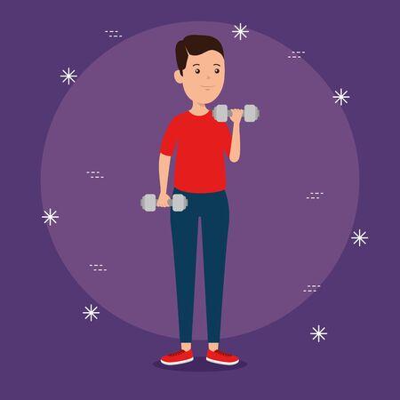 boy practice dumbbells exercise activity to summer sport vector illustration Reklamní fotografie - 134156977