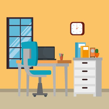 Büroarbeitsplatzszene mit Laptopvektorillustrationsdesign