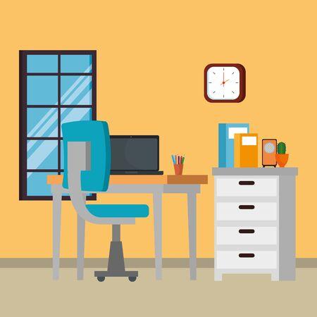 Scène de lieu de travail de bureau avec ordinateur portable vector illustration design