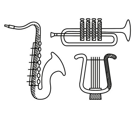set of saxophone and trumpet with harp instruments over white background vector illustration