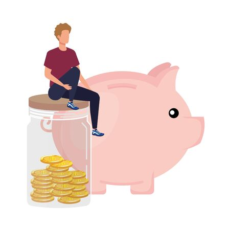 young man with piggy savings vector illustration design