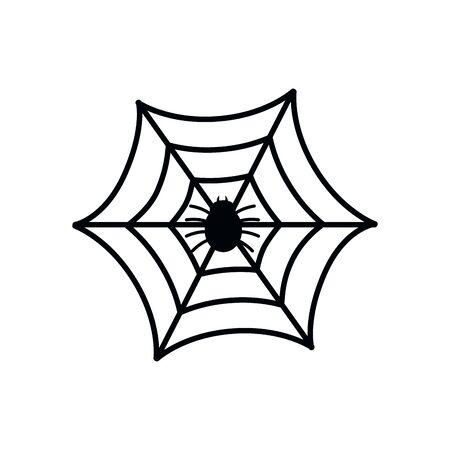 Halloween-Spinnennetz mit Insekt isolierte Symbol-Vektor-Illustration-Design