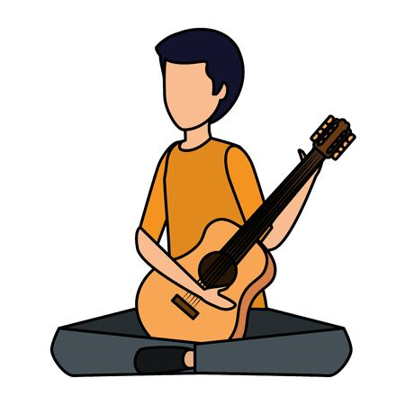 young man playing guitar instrument vector illustration design