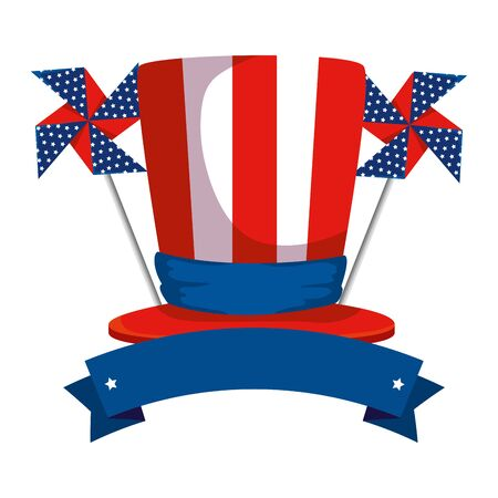 tophat with united states of america flag and wind toy vector illustration design